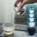 Стеклянный чайный набор с узором молотка для путешествий  один горшок и две чашки  чехол для переноски  быстрый чайник  чашка кунг-фу  чайник ...