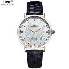 IBSO Brand Ultra-thin Fashion Women Watches 2018 Genuine Leather Strap Quartz Watch Women Waterproof Ladies Watches Montre Femme