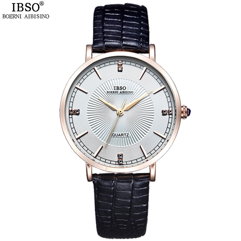 IBSO Brand Ultra-thin Fashion Women Watches 2018 Genuine Leather Strap Quartz Watch Women Waterproof Ladies Watches Montre Femme ibso brand fashion ultra thin quartz watch women stainless steel mesh and leather strap women watches 2018 fashion montre femme