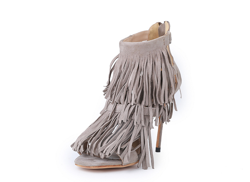 real picture high quality thin heel high heels women sandals gray fringe summer pumps zip peep toe ladies shoes sandalias mujer mini gray shaggy deer pvc quilted chain bag with cover real picture