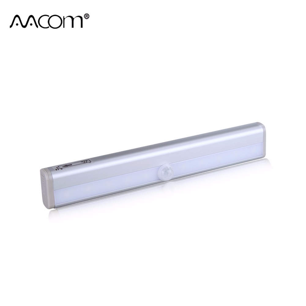 LED Night Light With Motion Sensor 10 LEDs 4 AAA Battery Powered Under Cabinet Lights Diode Wireless PIR Lamp For Kitchen Closet