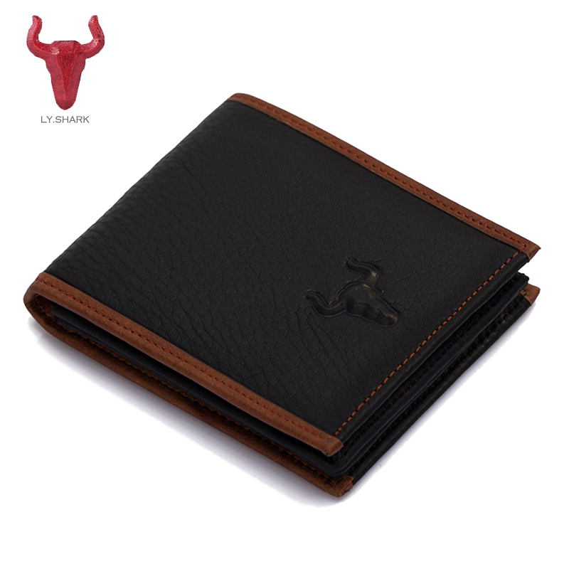 LY.SHARK Genuine leather Men Wallet coin purse male clutch card holder small men Clutch money bag carteira masculina wallet men