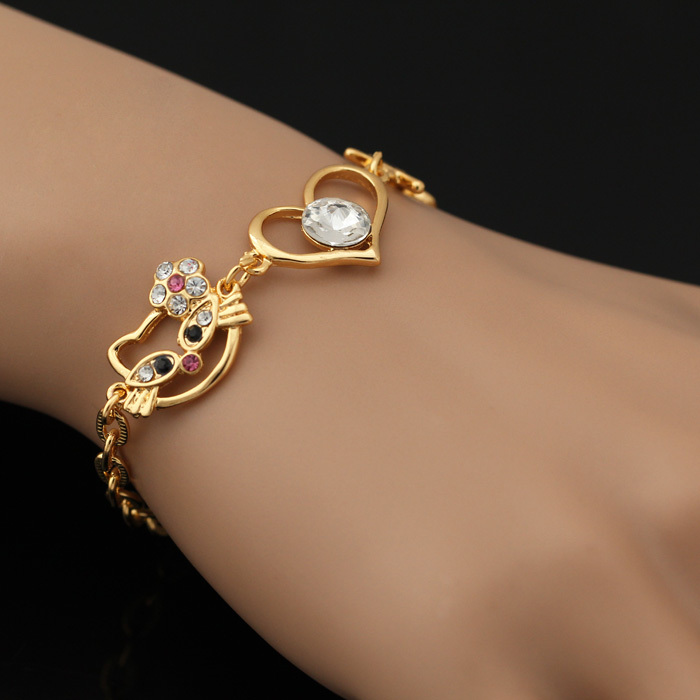 U7 Lovely Hello Kitty Bracelets Yellow Gold/Platinum Plated Chain ...