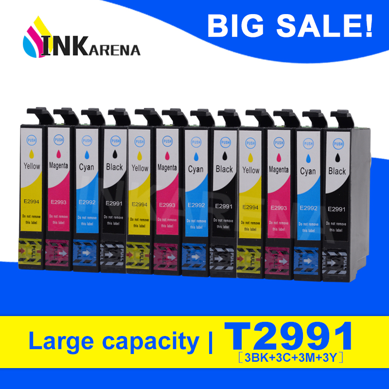 INKARENA 12PCS T2991 29XL T2994 Ink Cartridges For <font><b>Epson</b></font> XP342 <font><b>XP345</b></font> XP442 XP445 XP-445 XP-345 XP-342 Full Ink Printer Cartridge image