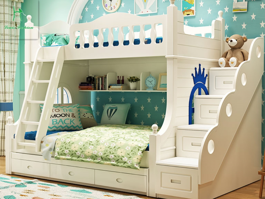 Louis Fashion Double Solid Wood Bunk Bed For Children In Beds From Furniture On Aliexpress