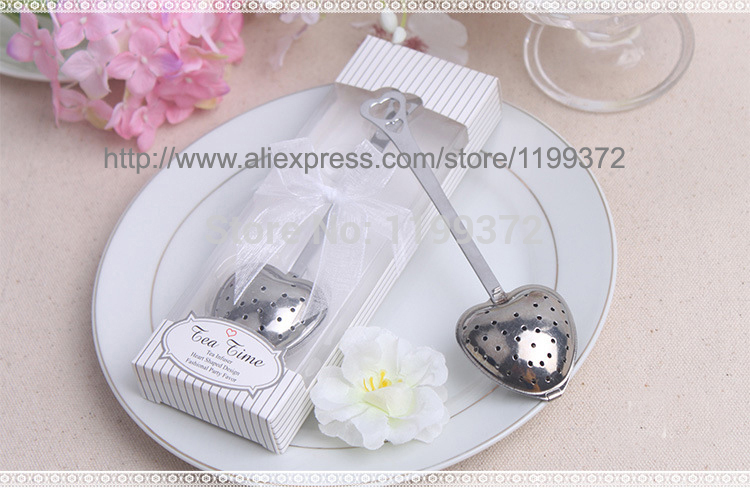 Fast DHL Free shipping 600pcs/lot wedding gift TeaTime Heart Tea Infuser Favor in Teatime Gift Box Heart Infuser in White Box