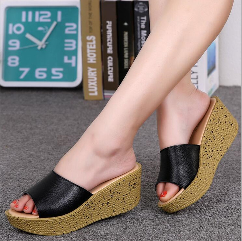 Genuine Leather platform sandals women solid color flip flops ladies sexy open toe high heel sandals ladies muffin slippers
