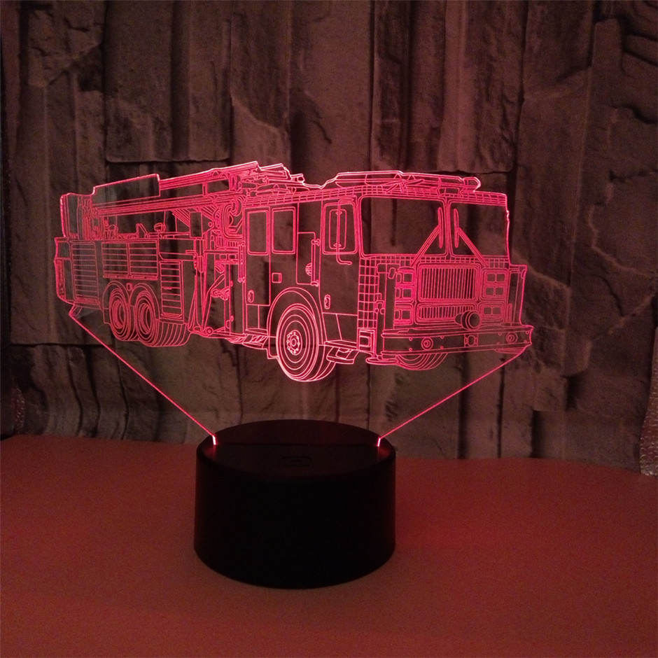 Colorful Ambulance 3D Night Light Colors Gradual Change Illusion Light Touch Light LED Table Lamp Train With Remote Control