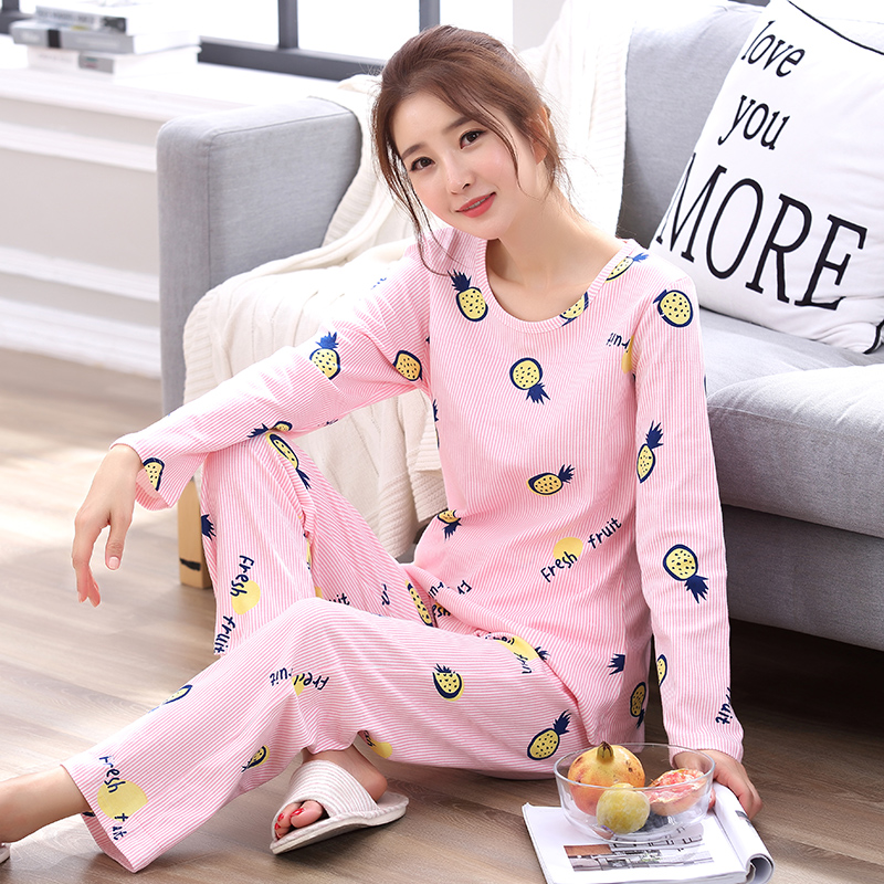 Hot Sale Spring&Autumn 100%Cotton Women Pajamas Fashion Letter Print Pajamas Sets Casual Long Sleeve Sleepwear Home Clothing