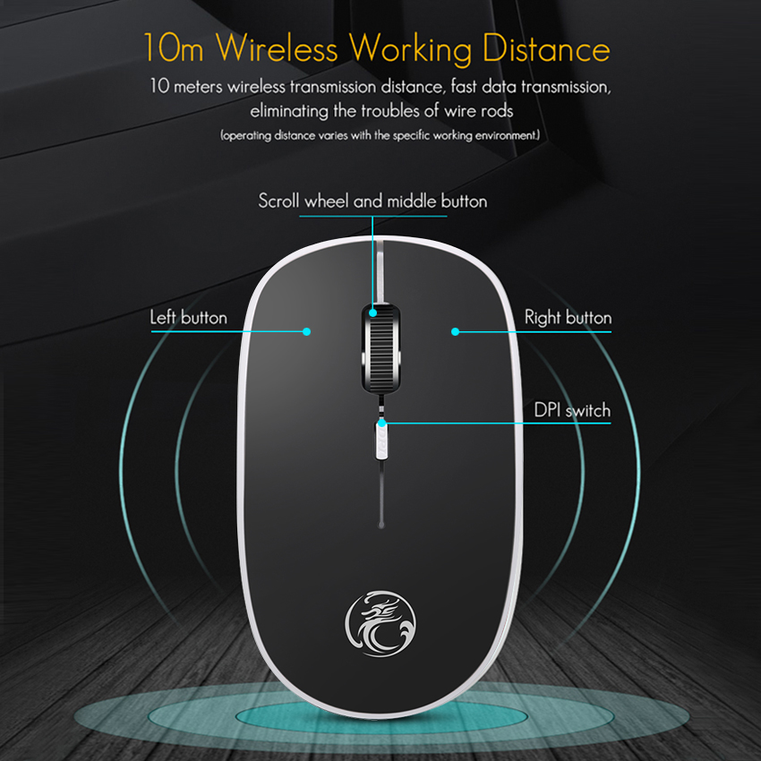 Colour Backlight 2.4Ghz Wireless Gaming Mouse Silent,Operating Distance 10 Meter with 6-Key USB Rechargeable,1200Dpi Adjust Optical Game Mouse,Black