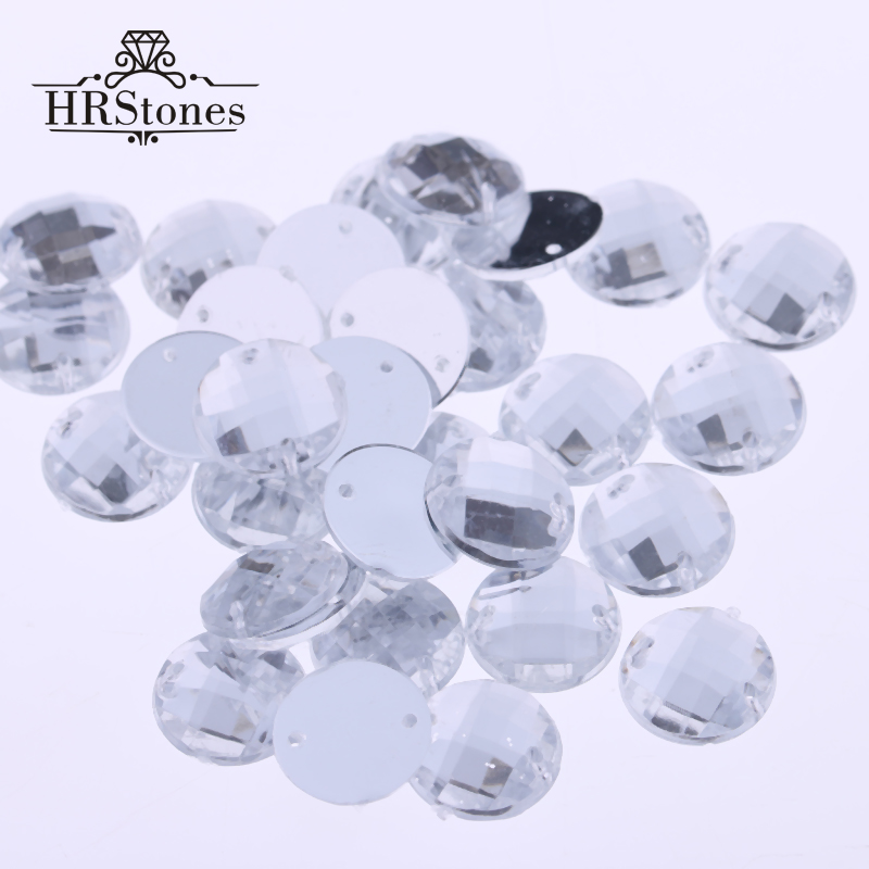 DIY камни Crystal Clear Белый FlatBack Круглый Швейные Тайвань Акриловые 2 отверстия 6 мм 14 мм 16 мм 18 мм 20 мм пришить стразы для Craft
