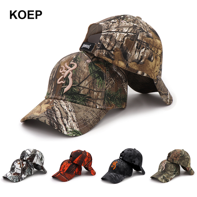 huge discount 71e2c 3b53d KOEP Browning Camo Baseball Cap Fishing Caps Men Outdoor Hunting Camouflage  Jungle Hat Airsoft Tactical Hiking Casquette Hats