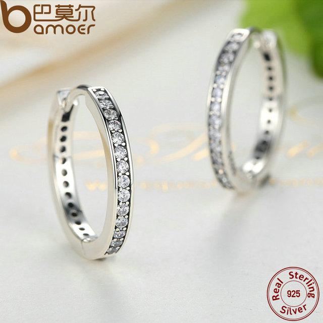Sterling Silver Cubic Zirconia Simple Hoop Earrings
