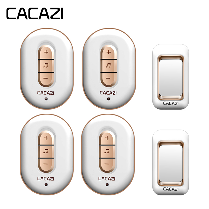 CACAZI Wireless Waterproof Doorbell 300M Remote 2 Battery Button + 4 Receiver EU Plug Home Cordless Bell 6 Volume 48 Chime CACAZI Wireless Waterproof Doorbell 300M Remote 2 Battery Button + 4 Receiver EU Plug Home Cordless Bell 6 Volume 48 Chime