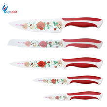 High Quality Stainless Steel Kitchen Knife Set 3.5″ 5″ 8″ Chef Bread Cleaver Utility Fruit Paring Knife Red Rose Kitchen Knives