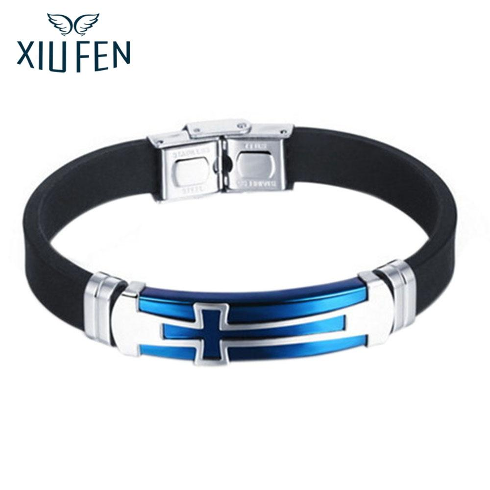 XIUFEN Bracelet Men Vintage Concise Cross Design Leather Bracelet Fashionable Jewel As Perfect New Year Christmas Gift