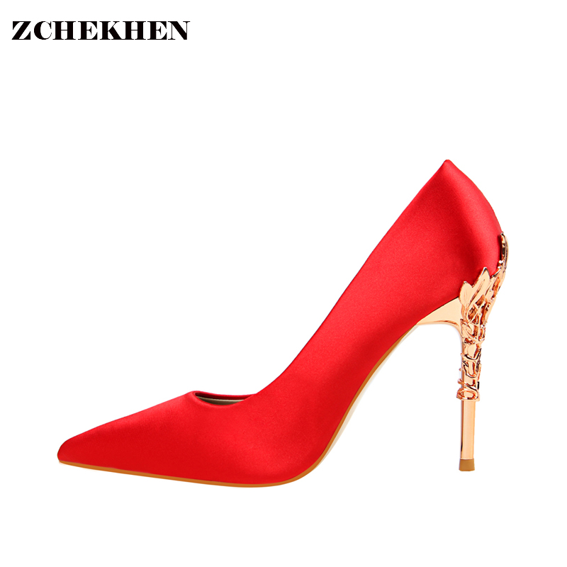 2018 Ladies Satin Slik Party Pumps Women Sexy Metal Carved Thin Heel Shoes Candy Color Wedding High Heels 10 CM Shoes