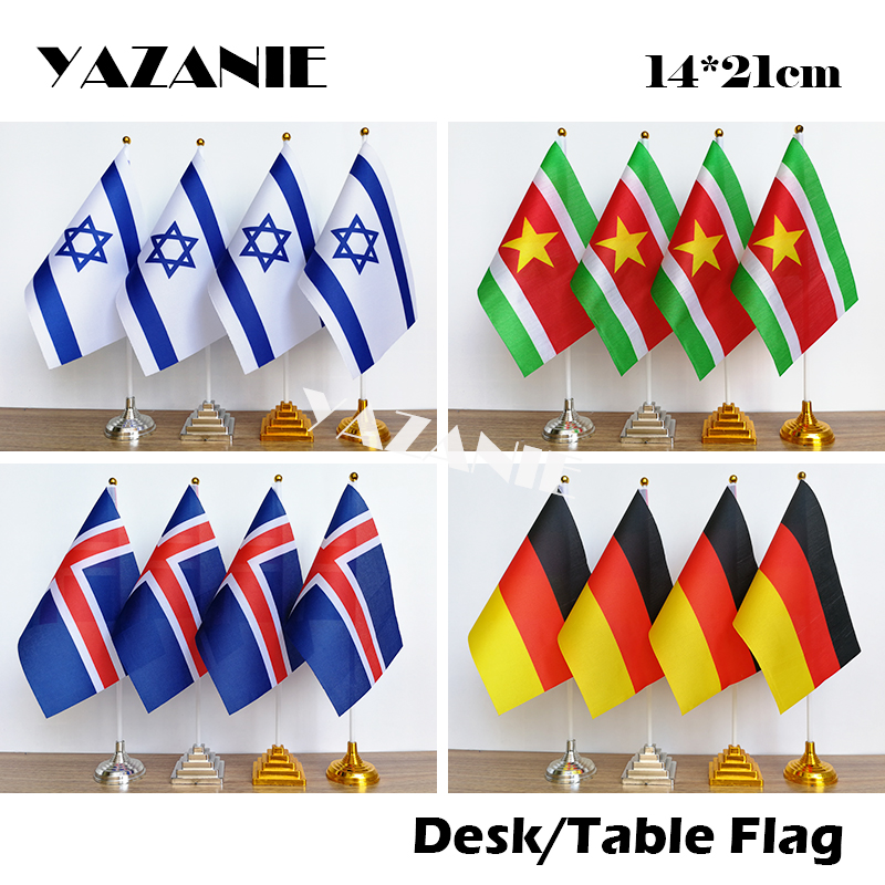 India with England Deluxe Double Table Flag Plastic Polyester Gold Base