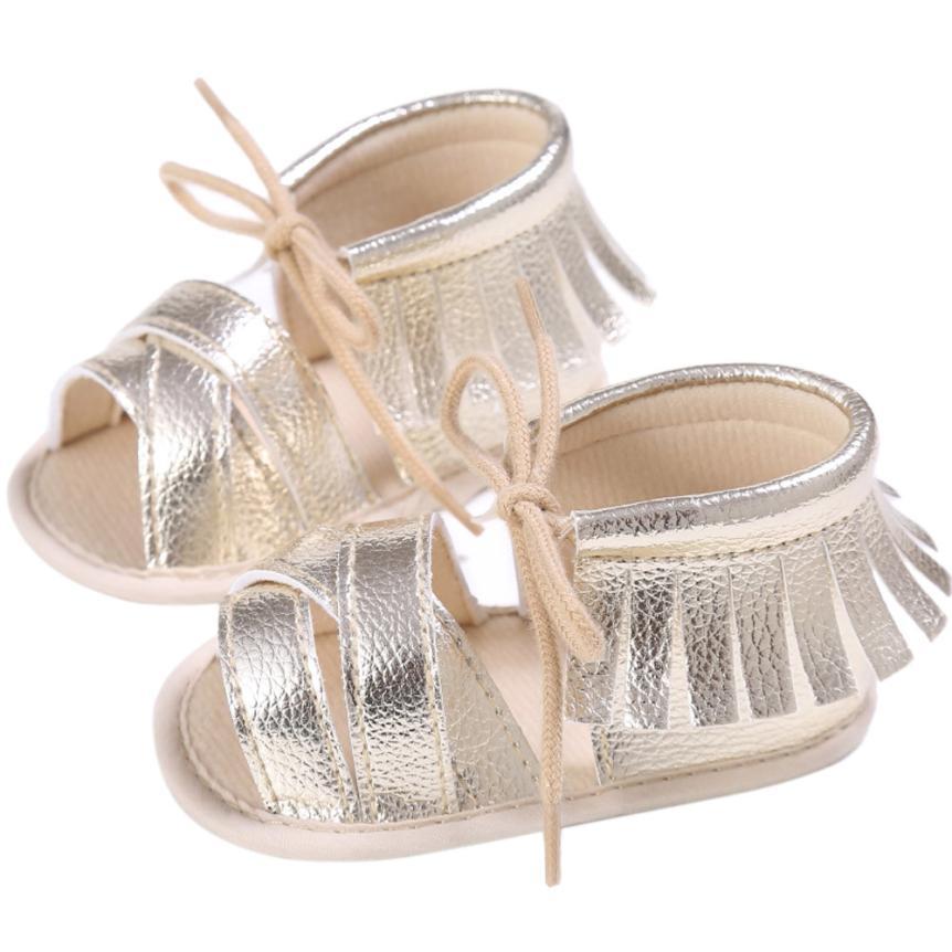 shaunyging # 4031 Newborn Girls Boys Crib Shoes Soft Sole Anti-slip Baby Sneakers Tassel Sandals