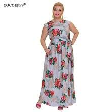 COCOEPPS Novo 5XL 6XL Vintage Floral Impresso Mulheres Vestido Longo Até O Chão Tamanho Grande 2018 Outono Sexy Maxi Vestidos Plus Size vestidos