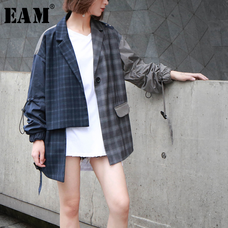 [EAM] 2020 New Spring Autumn Lapel Long Sleeve Blue Hit Color Plaid Loose Big Size Irregular Jacket Women Coat Fashion JQ276