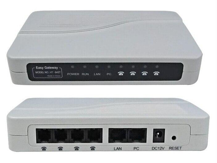 Livraison postale gratuite! VoIP ATA FXS passerelle 4FXS ports vers PBX joncteur réseau astérisque IP PBX HT842T adaptateur de Terminal analogique VoIP passerelle FXS