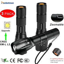 3 PCS Brightest Tactical Flashlight 8000LM XML-L2 LED Flashlight  High Powered, Zoomable Torch For Emergency Camping Hiking 3 pcs brightest tactical flashlight 8000lm xml l2 led flashlight high powered zoomable torch for emergency camping hiking