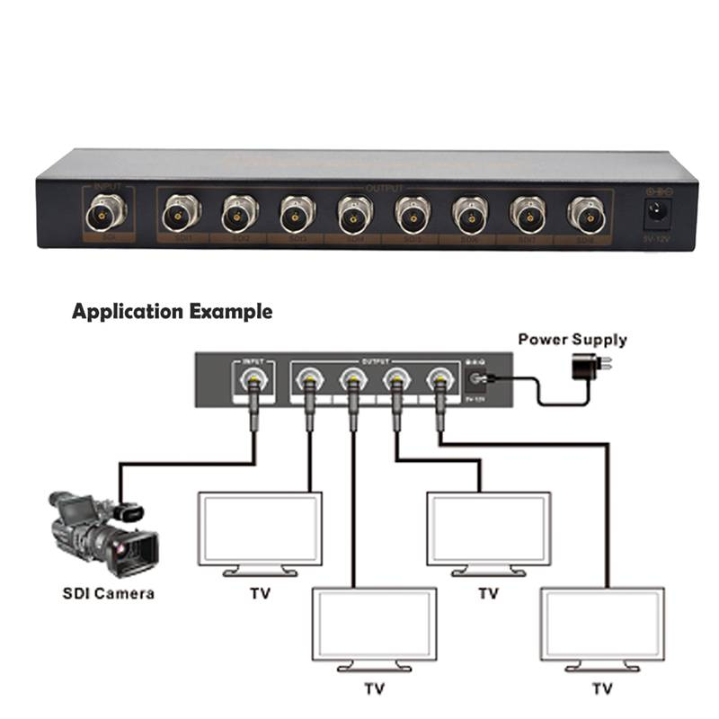 300M 1X8 SDI Splitter Distributor SDI Extender Switcher Support SD/HD/3G-SDI for SDI Camera Security System High Quality