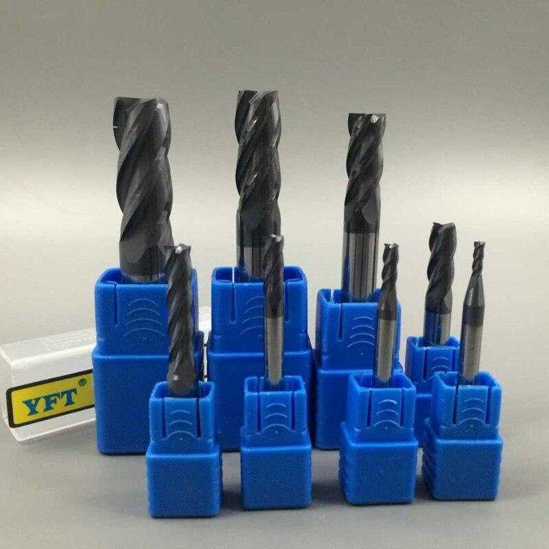 ALBACORE 8 Pcs/ensemble Fraise En Acier De Tungstène Fraises En Carbure 2-12mm Routeur Peu 4 Flûtes HRC45 CNC peu Outils