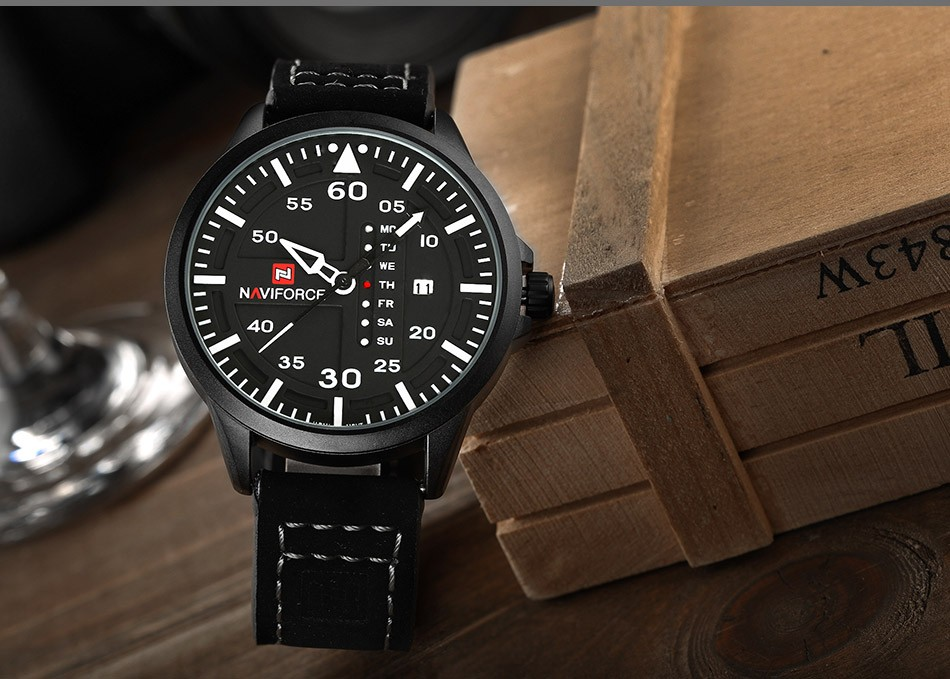 Naviforce CUR8106 Men Army Military Sports Watch Black Leather Strap