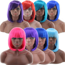 Cheap Bob Wig With Bangs Red Pink Blue Purple Blonde Hair Synthetic Halloween Costume Women's Short Cosplay Wigs For Party цена 2017