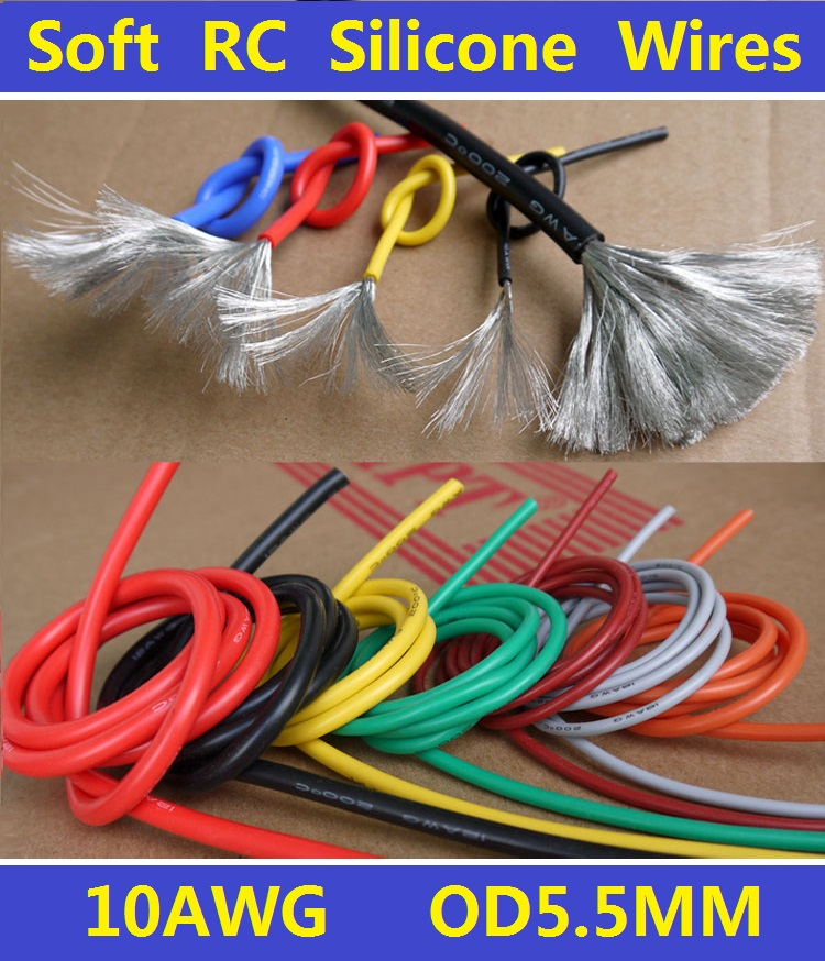 10AWG Flexible Soft Tinned Copper Silicone Wire RC Cable High Temperature Free Shipping 2 Meters