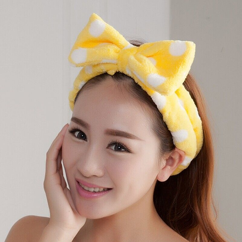 Womem Soft Lovely Ladies Girl Hair Band   Headwear   Bow Dot Striped Shower Wrap Headband Bath   Headwear   Spa MakeUp Cute