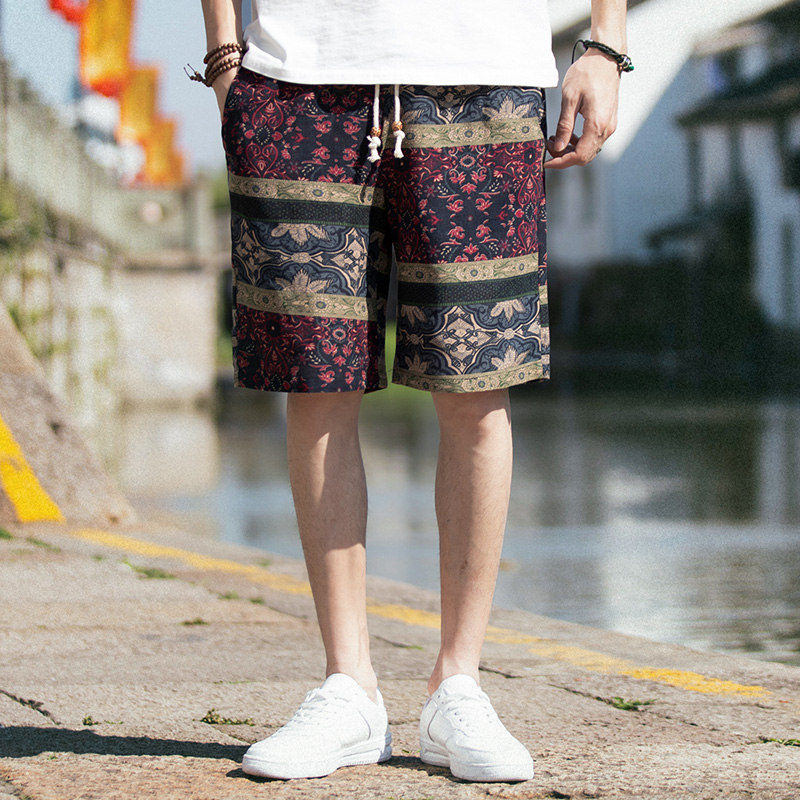 Linen Shorts Hip-Hop Summer Casual Drawstring Loose Beach Hawaii Straight Homme Comfortable
