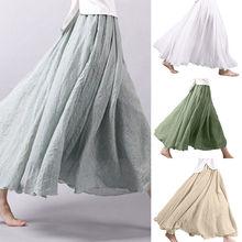 Женская льняная длинная юбка макси с высокой талией расклешённая и в складку свободная длинная юбка Повседневная Женская одежда