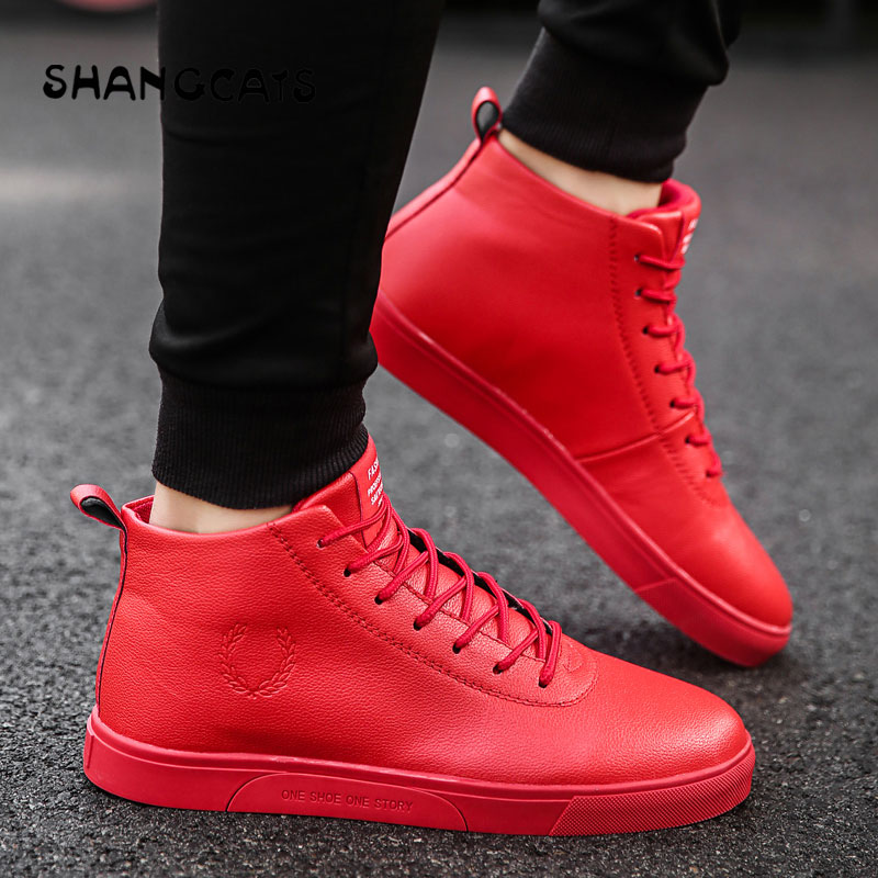 Men's Vulcanize Shoes Lace up Men Casual Shoes Winter Fashion High Top sneakers comfortable board shoes white red all black 2018