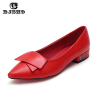 CBJSHO 2017 Ladies Loafers Flats Square Heel Shoes Pointed Toe Oxford For Women Spring Brand Bow