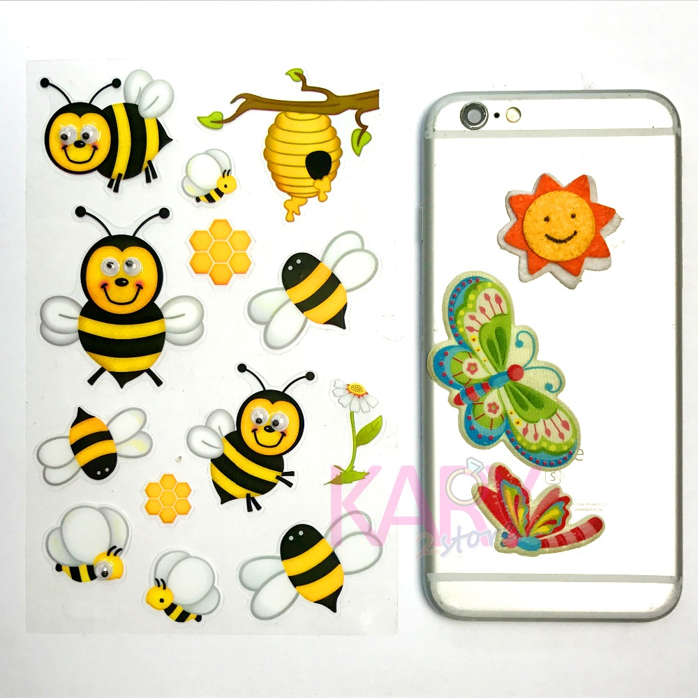 Lucu Lebah Madu Serangga Hewan Googly Mata Scrapbooking Stiker