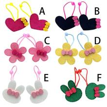 1Pc Child Girls Elastic Rubber Band Colorful Cartoon Bunny Flower Heart Cloth Craft Hair Rope Sweet Bowknot Decor Ponytail Holde(China)