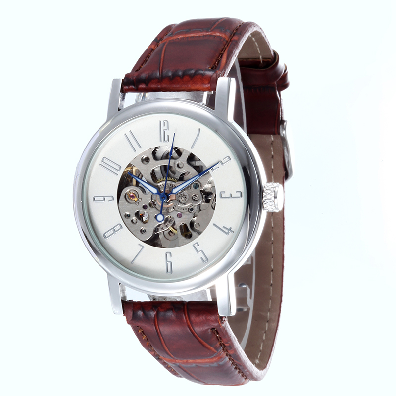 WHATCH Mechanical mens Automatic clock Men watches Fashion Leather strap Watch top famous china brand waterproof
