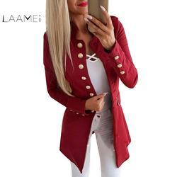 Laamei для женщин Осень Slim Fit Smart повседневное Блейзер длинный рукав офис ПР с лацканами пуговицы плюс размеры дамы куртка пальто для будущих
