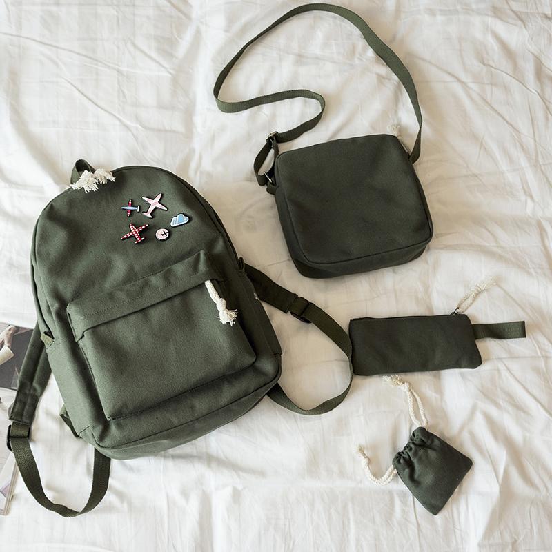 Menghuo 5 Pcsset Women Backpacks Cute Plane Badge School Bags For Teenage Girls Simple Canvas Backpacks Ladies Shoulder Bags (16)