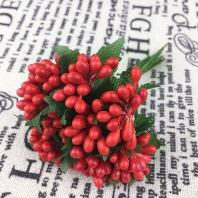 Многоцветный Скрапбукинг цветок листья 12 шт./лот украшения жемчуг Berry тычинки провод цветок для DIY аксессуары