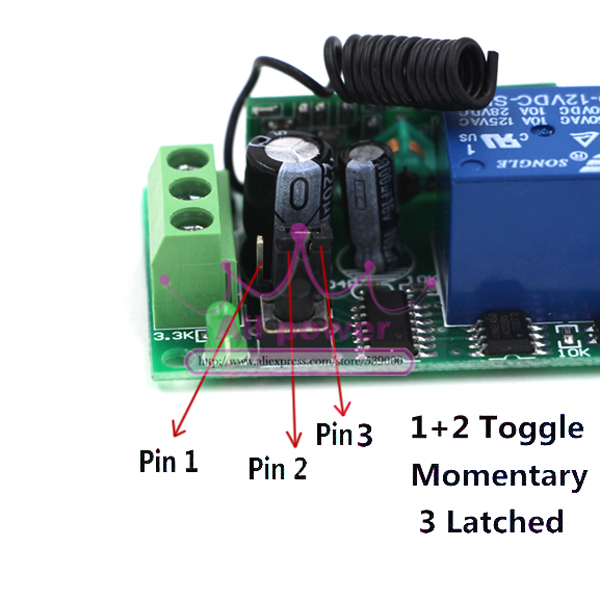 Wireless 1ch Gate Garage Door Remote Control Switch Dc 12v Rf 2pcs