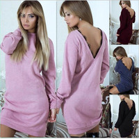 Hodisytian Winter Fashion Women Dress Casual Full Sleeve Lace Patchwork Backless Solid Color Mini Dresses Vestidos