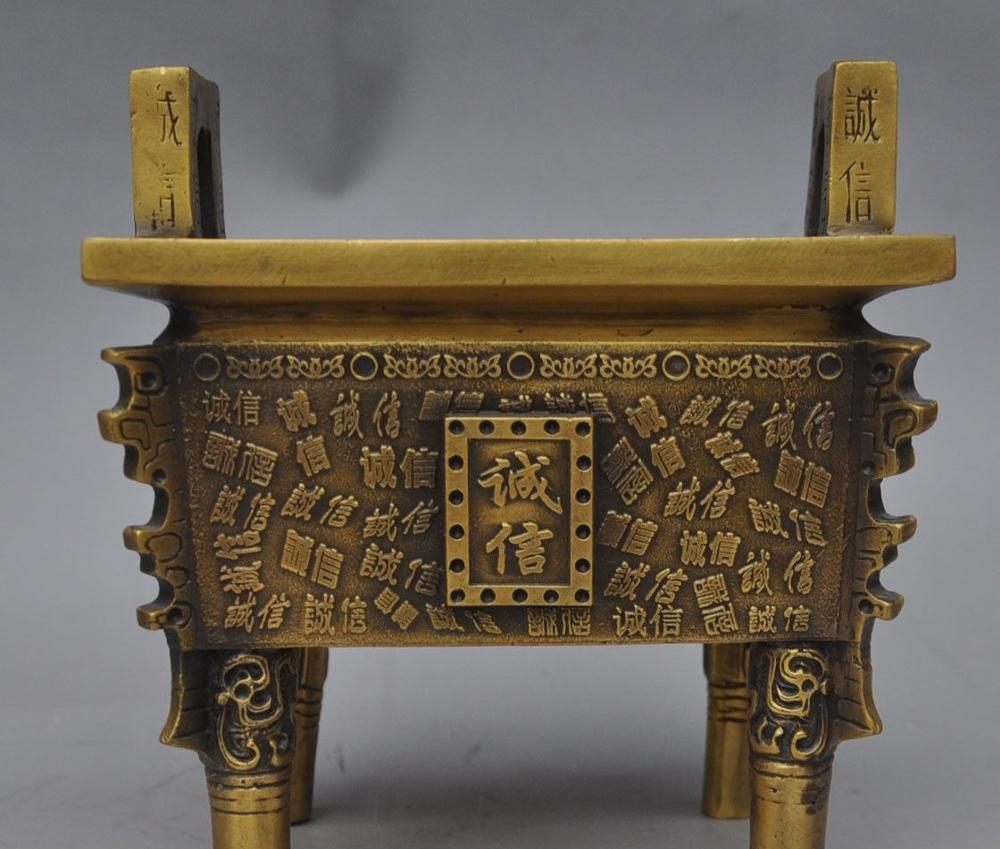 Chinese Brass Honesty Work Together Kept Their Promises Incense Burner Censer