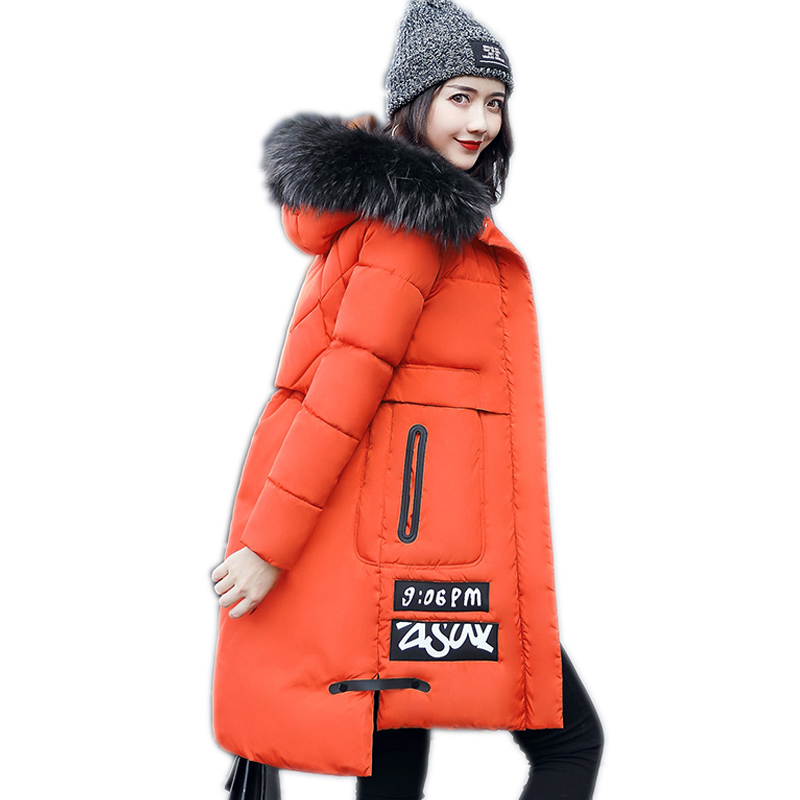Long Down Jacket Winter Womens Coats Thick Jacket New Fashion Slim Fur Collar Korean Cotton Clothing Women Parkas 2017 new women s fashion authentic korean slim fur collar down jacket female long thick warm white duck down jacket for snow h1013