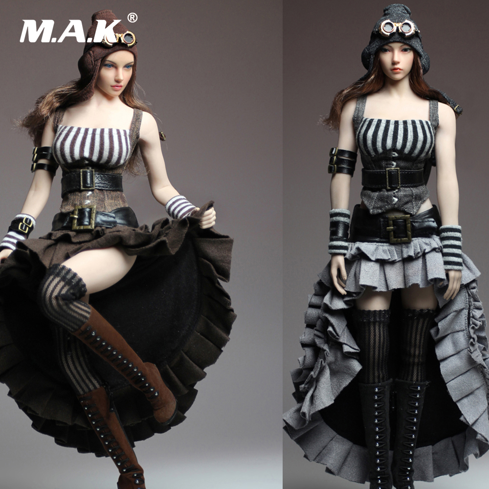 1/6 Scale Female Clothes Steam Punk Dress Set & Accessories without Body and Head A/B Styles For 12 Woman Action Figure 13 77 kumik 1 6 scale female head shape for 12 action figure doll accessories ph head carved not include the body and clothes