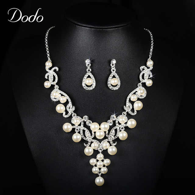Luxury Necklace Earring Jewelry Sets For Women Wedding Dress CZ Diamond Simulated Pearl Bridal & Bridesmaids Vintage Elegant D17