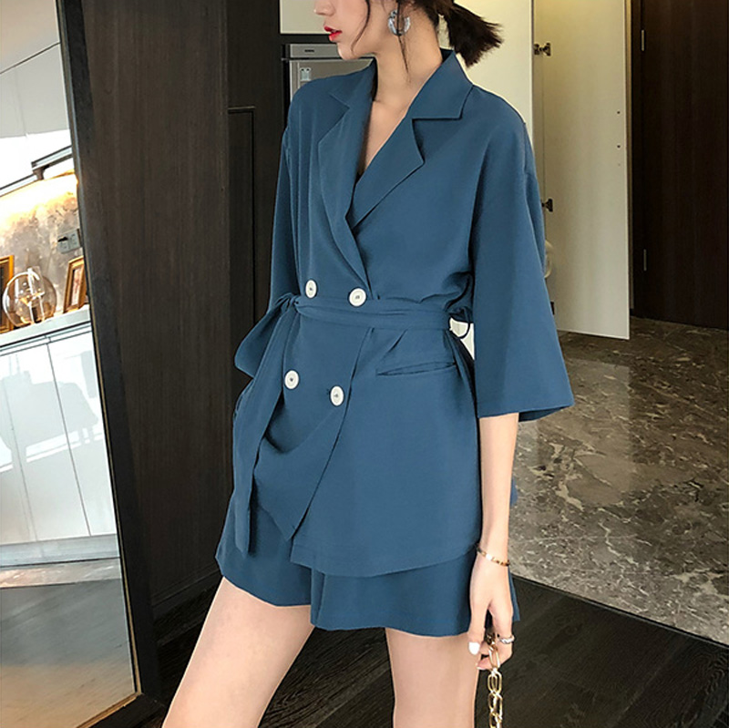 Summer Women Cotton Short Tracksuit Lace Up Jacket Blazer & Elastic Waist Shorts Loose Female Suit with shorts 2 Pieces Set 9